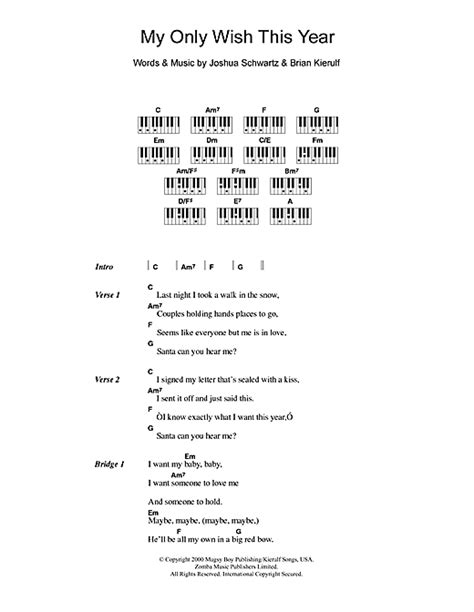 my lyrics with piano chords my only wish this year sheet by