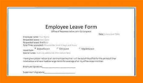 staff leave application form format leaves application