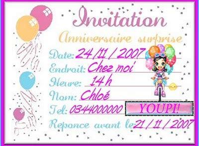 Mod Les De Lettre D Invitation Gratuite modele carte invitation anniversaire modele carte