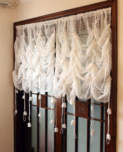 lace balloon curtains 1 panel korean style white lace flower translucidus pocket