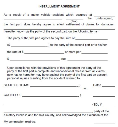 installment plan agreement template installment agreement 5 free pdf