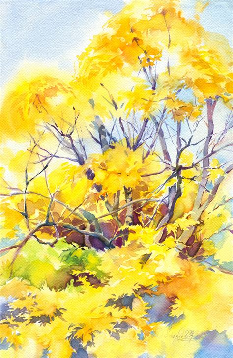 autumn tree watercolor painting yellow forest painting