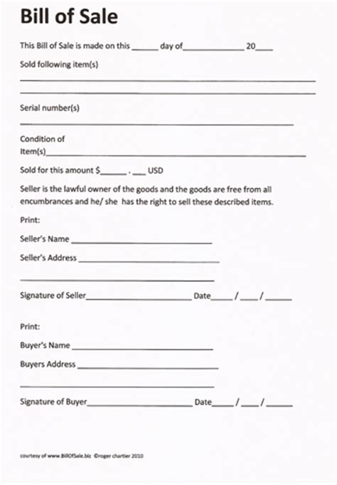 bill of sale form free printable rv bill of sale form form generic