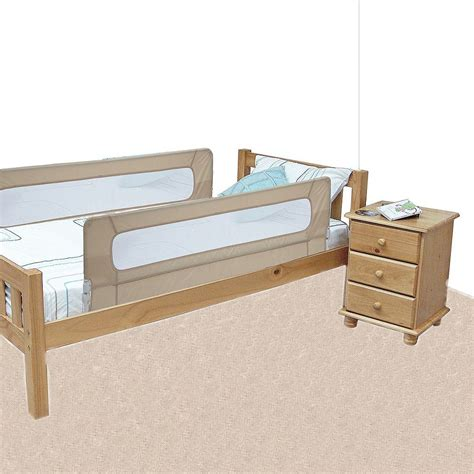 double sided bed rail safetots extra wide double sided mesh bed rail natural
