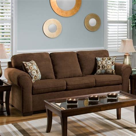 brown couch with pillows simmons chocolate fabric sofa with accent pillows