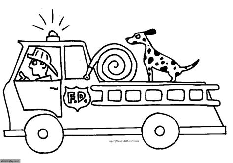 Fire Truck Coloring Page | fire truck fireman and fire dog printable coloring page