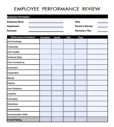 performance review template free employee evaluation form 16 free documents in pdf