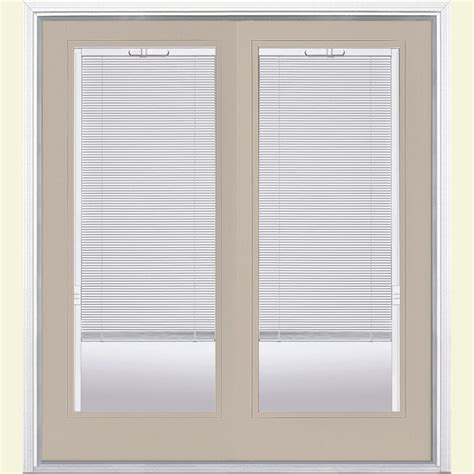 Mini Blinds For Patio Doors Masonite 72 In X 80 In View Fiberglass Prehung Left Inswing Mini Blind Patio Door