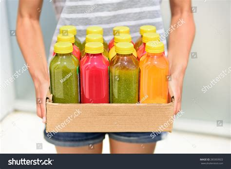 Detox Diet Meal Delivery by Juicing Cold Pressed Vegetable Juices Detox Stock Photo