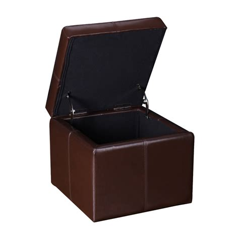 cube leather ottoman adeco brown bonded leather contrast stitch square cube