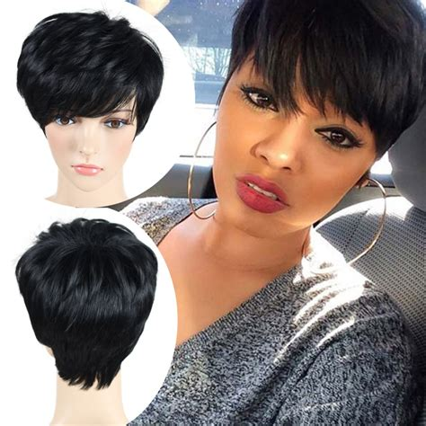 affordable short spike wigs for black women black wig short pixie cut cheap synthetic wigs cheap hair