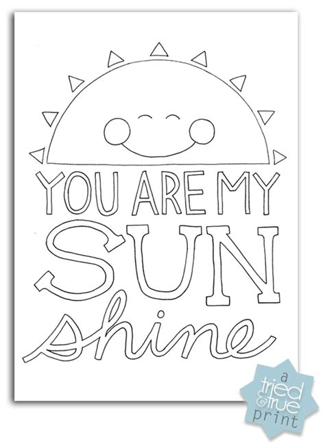 sunshine coloring pages quot you are my sunshine quot free coloring prints tried true