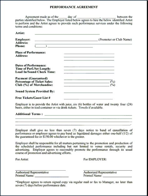 Contract Performance Letter Performance Contract Free Printable Documents