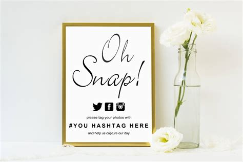 Calligraphy Oh Snap Sign Wedding Sign Template Wedding Hashtag Sign Hashtag Sign Reception Sign Wedding Shoes Sign Template