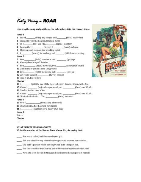 printable lyrics katy perry songs song worksheet roar by katy perry