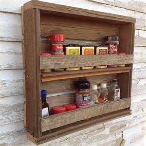 wooden spice rack rustic kitchen decor reclaimed wood