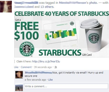 Check How Much Money On Starbucks Gift Card - the most annoying facebook scams networks plus