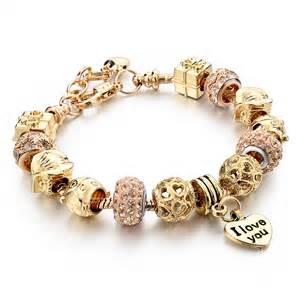 Heart charm bracelets for women snake chain gold plated bracelets