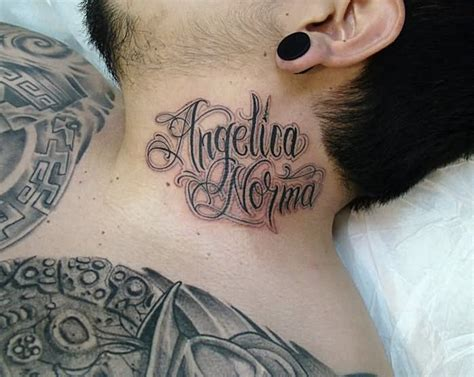 neck tattoo fonts angelica norma words tattoo on man side neck arte