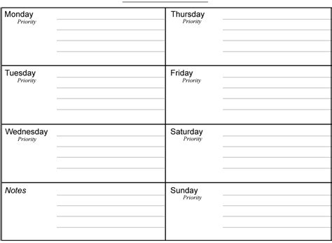 weekly agenda template free printable weekly planners printable weekly planner
