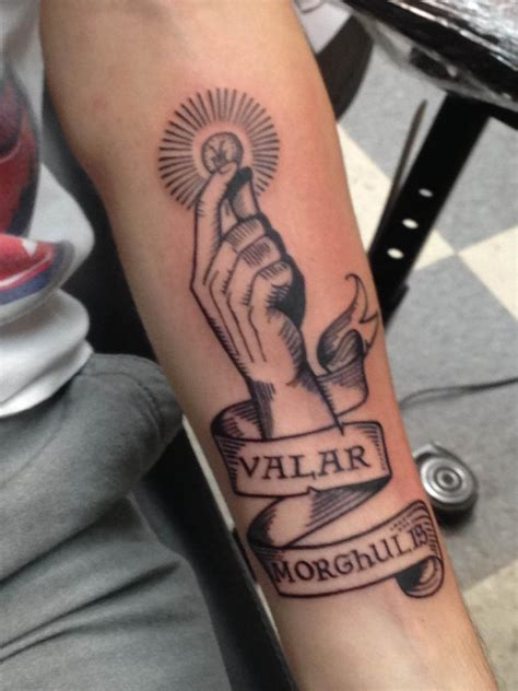 valar morghulis tattoo these of thrones tattoos are cooler than winter