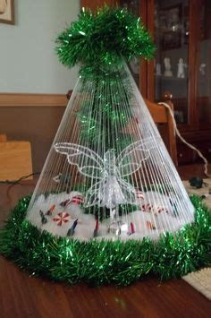 fishing line christmas tree tabletop snowman quot tree quot handmade with garland fishing line decorations