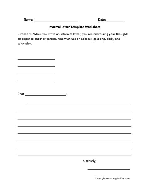 Business Letter Format 7th Grade informal letter writing worksheets business letter 6th
