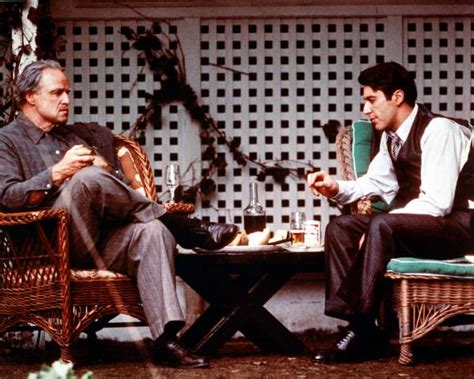 The Godfather Chair by Marlon Brando Sitting Opposite Al Pacino Us Actor Both
