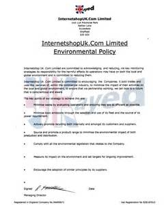 environmental policy template modal title