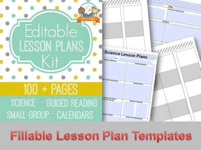 Printable Lesson Plans For Preschool Pre K And Kindergarten Editable Weekly Lesson Plan Template