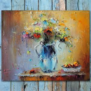 palette knife flowers painting colorful still
