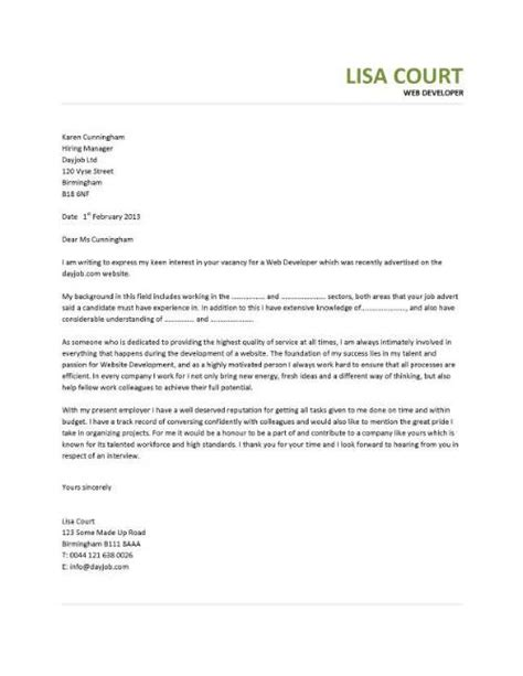 Email Cover Letter For Web Developer Learn How To Write A Web Designer Cover Letter By Using This Professionally Written Sle
