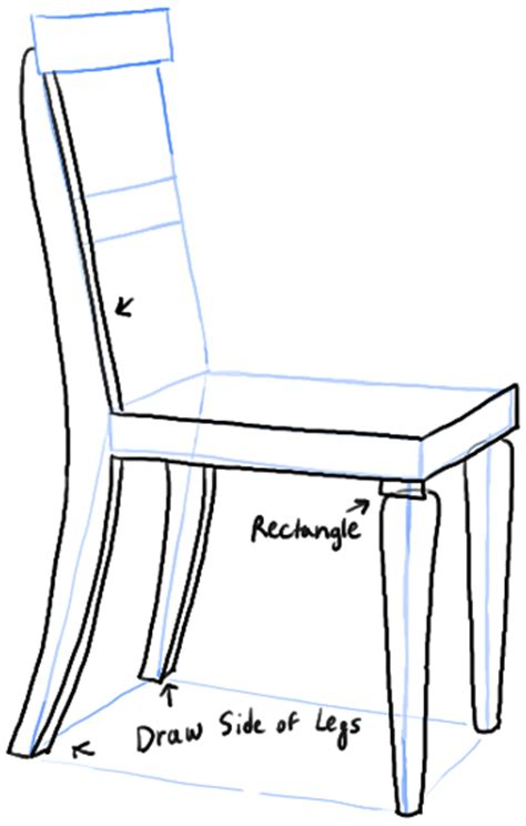how to draw a chair in the correct perspective with easy