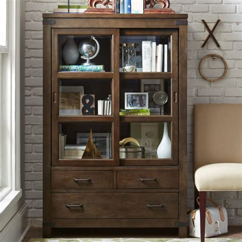 Furniture Brown Wooden Book Cabinet With Sliding Glass Wall Bookcases With Doors