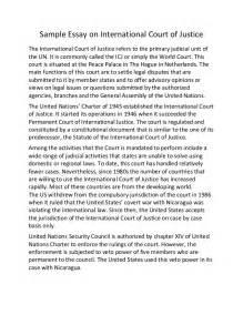 International Essay by Sle Essay On International Court Of Justice
