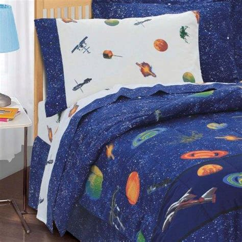 Size Comforter Set Boys Outer Space Theme Bedroom Blue Bedding Ebay Boys Bedding Slideshow