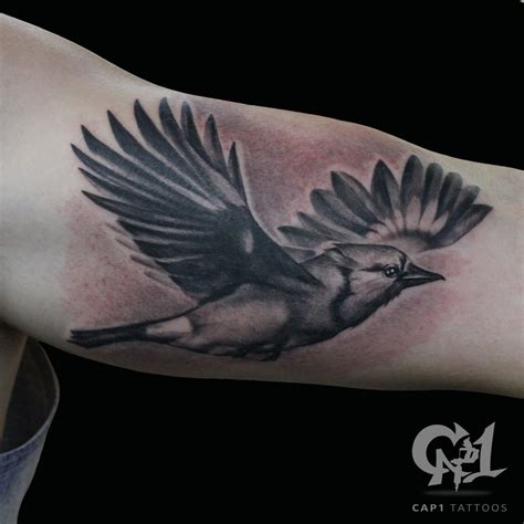 blue jay tattoo flying blue by capone tattoonow