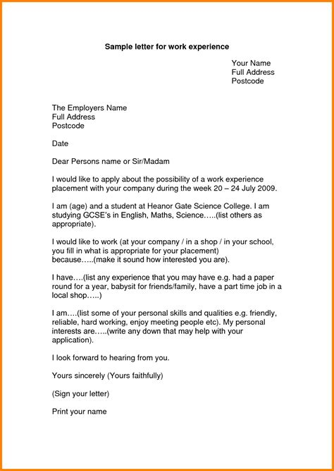 Work Experience Letter Template Year 10 Esleresume