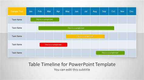 timeline table template table timeline template for powerpoint slidemodel