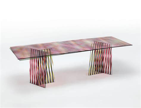 Kaos Oblong Motif Rectangle Preloved glas italia crossing contemporary rectangular dining table in colored glass