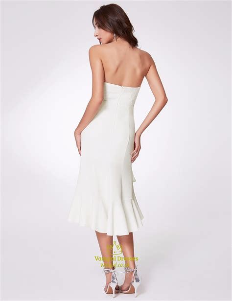 Ruffle Hem Sheath Dress white strapless asymmetrical ruffle hem sheath dress with
