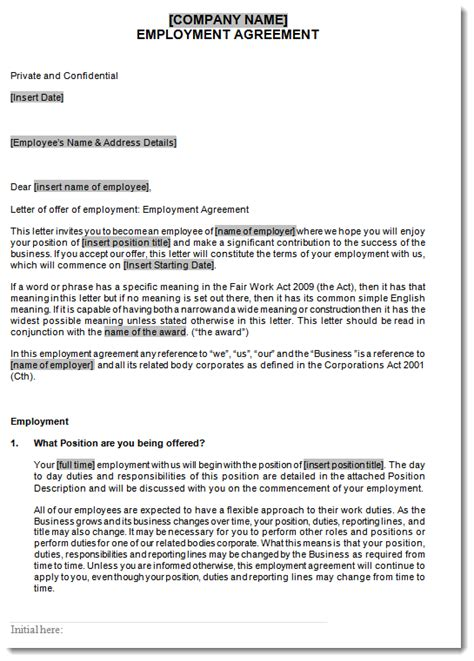 full time employment agreement employee contracts