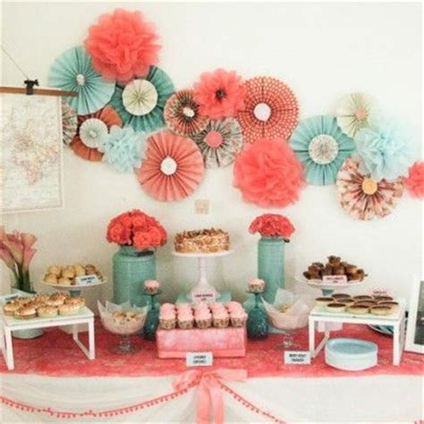 coral and themed wedding dessert table baby shower