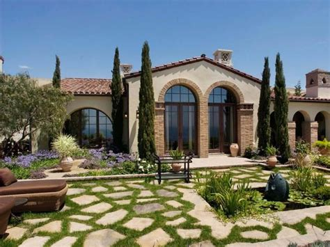 more modern use of italian cypress tuscan courtyards
