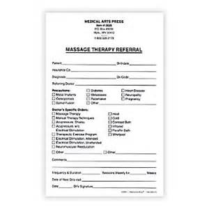 medical arts press 174 massage therapy referral form 5 1 2x8