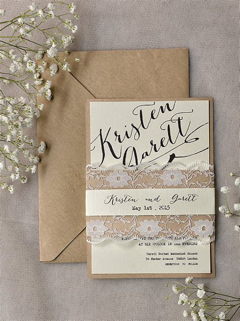 rustic wedding invitation www etsy shop 4lovepolkadots the merry