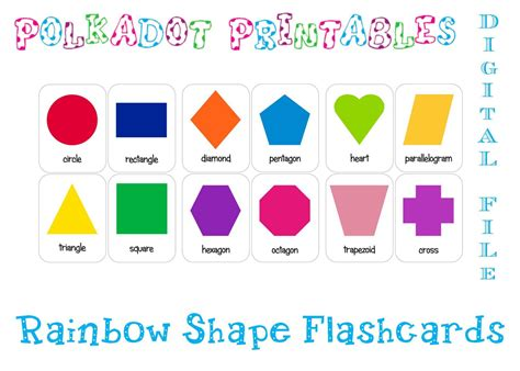 shape flash cards template printable shape flashcards set of 12 instant