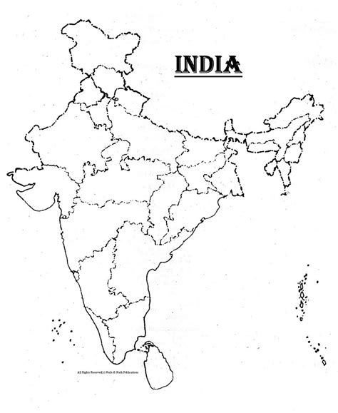 An Outline Political Map Of India by Blank India Political Map