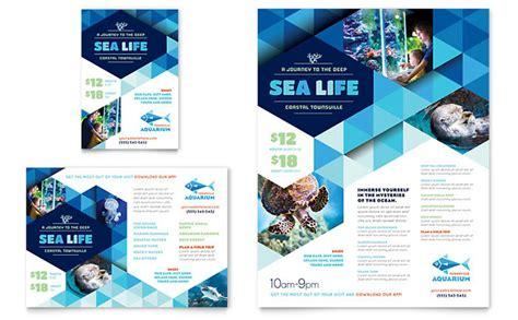 ocean aquarium flyer ad template design