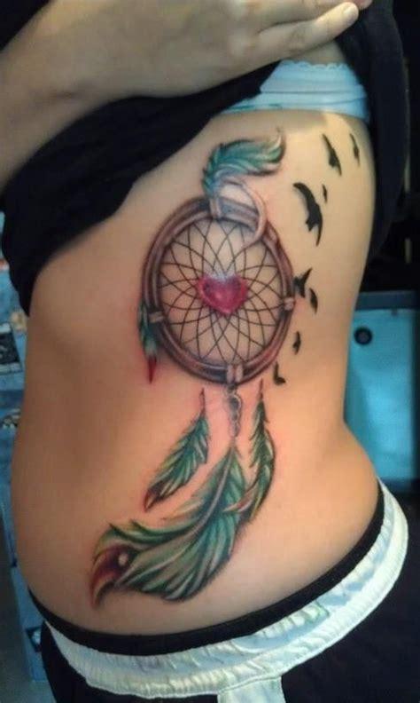watercolor tattoo ribs delicate in dreamcatcher watercolor on rib